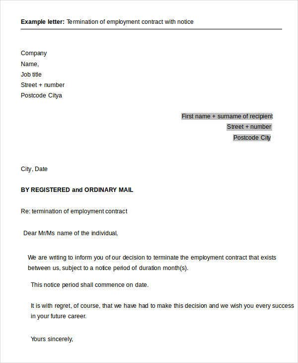 Employment Contract Termination Letter with Notice