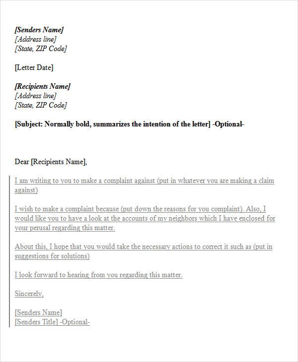 landlord tenant complaint letter