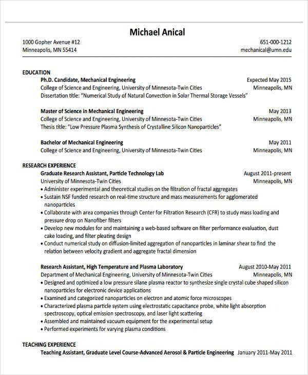 engineering graduate sample - Engineering Graduate Resume
