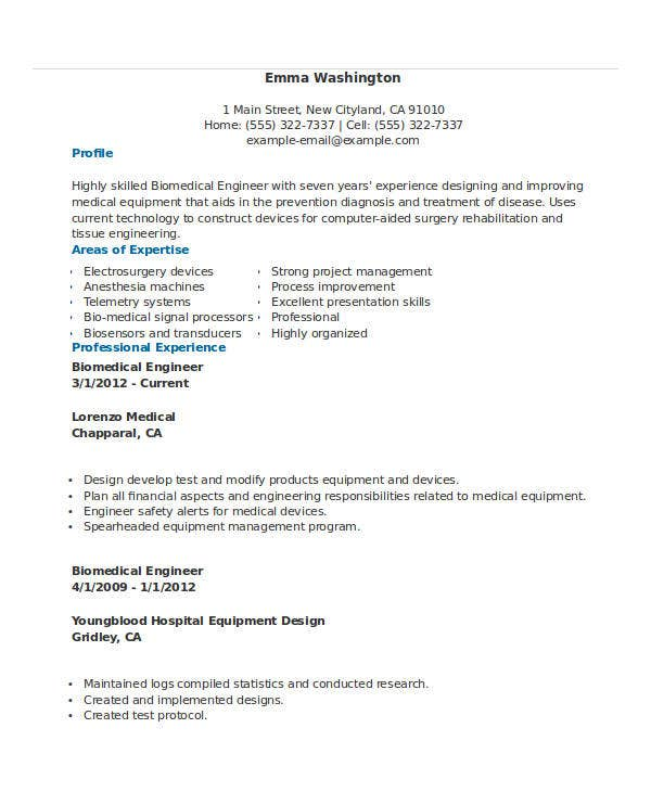 Free Engineering Resume Templates 50 Free Word PDF Documents – Biomedical Engineer Resume