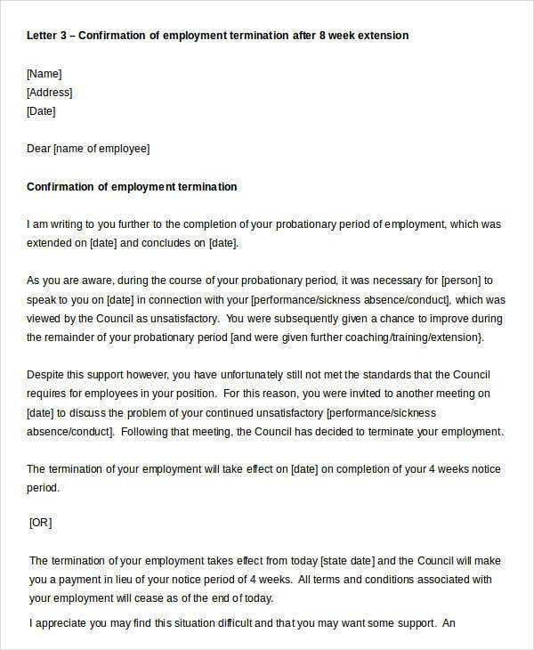 employment termination confirmation letter
