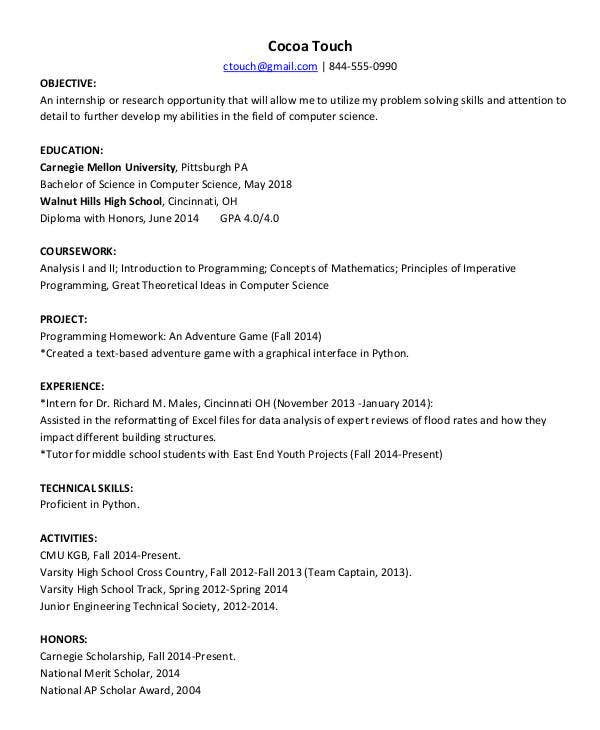 Food Science Resume Example Example Technology Resume Resume For