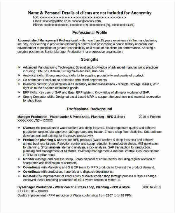 production engineer resume in pdf