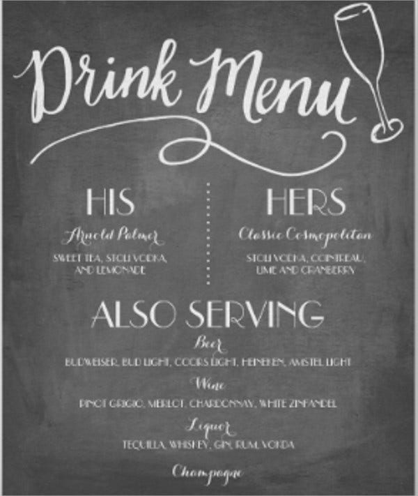 Drink Menu On Chalkboard