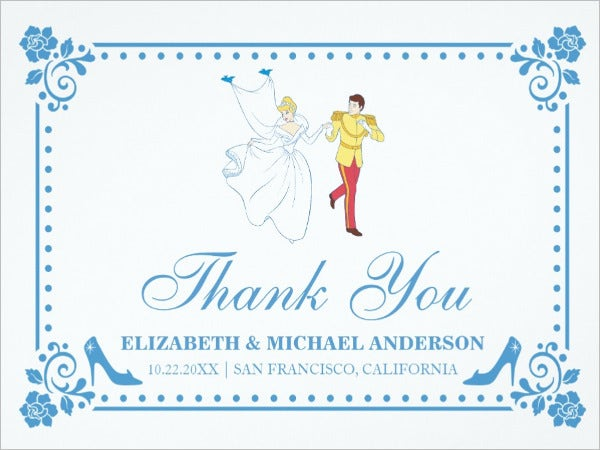 personalised thank you wedding card