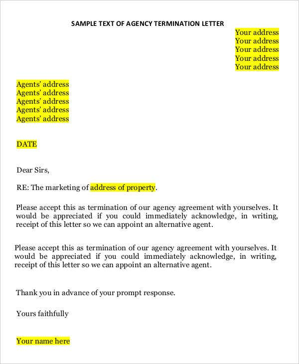 sample text of agency termination letter