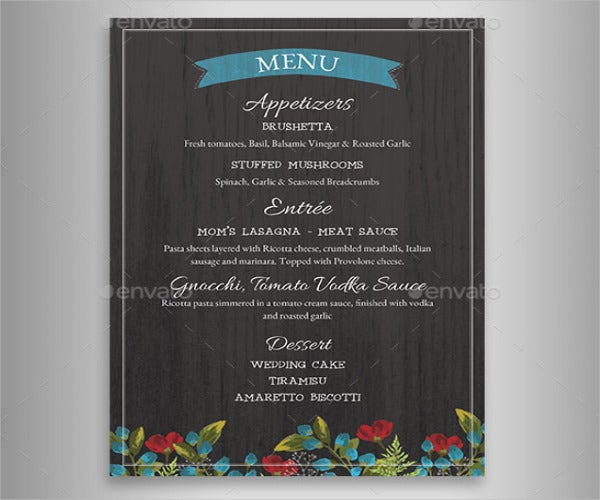wedding reception menu card1