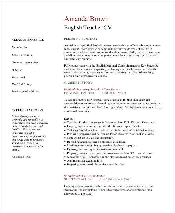 english teacher cv
