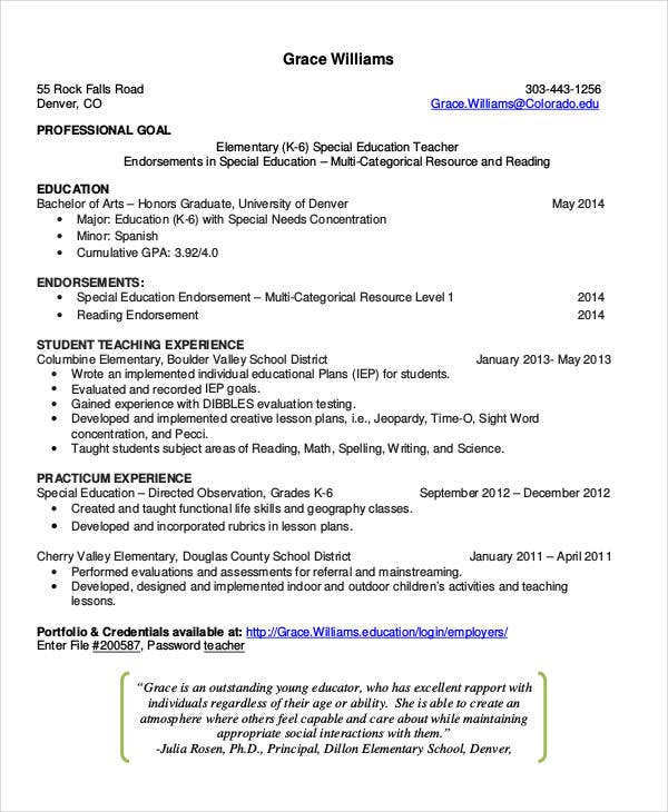 teacher job resume sample2