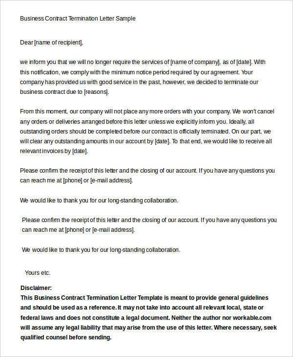 Business Contract Termination. Business Contract Termination Letter Sample  Business Termination Letter Sample