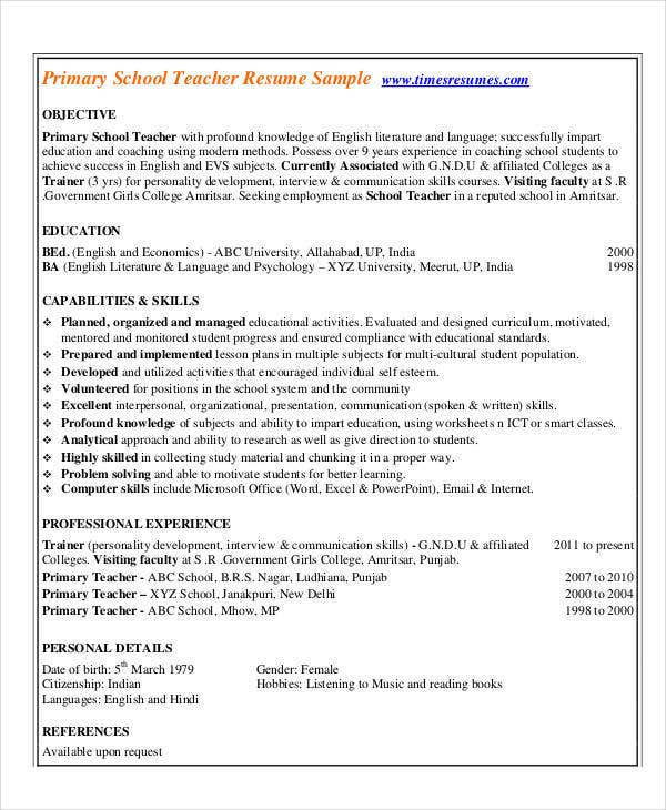 Sample Resume Primary Teacher India