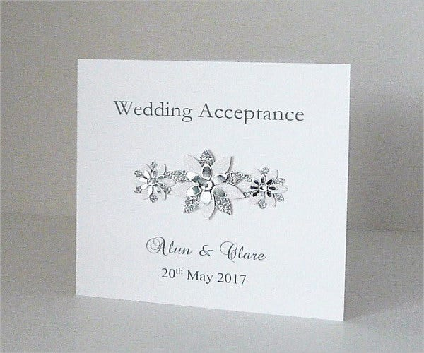 special wedding acceptance card