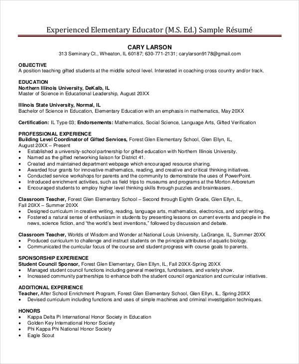 experienced elementary school teacher resume1