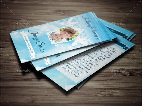 peace funeral prayer card