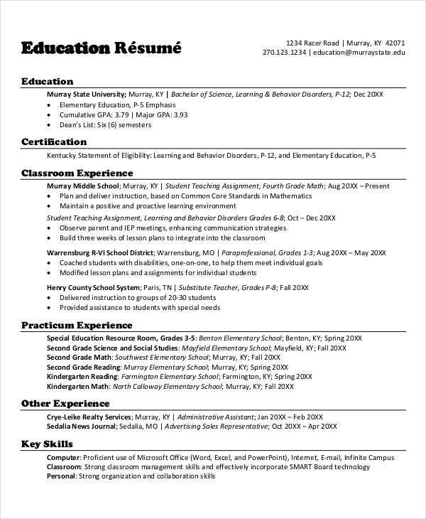 teacher resumes 27 free word pdf documents download free