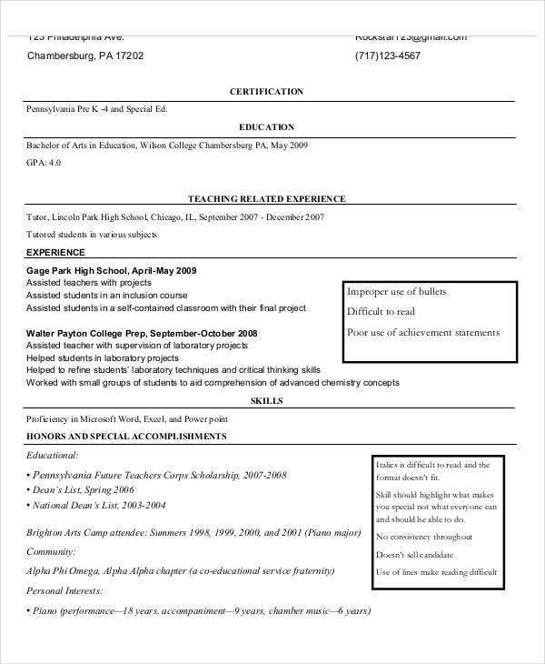 elementary school teacher assistant resume