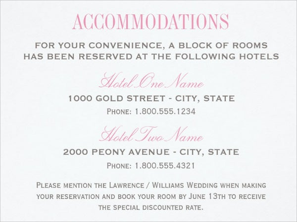 wedding invitation accommodation card1