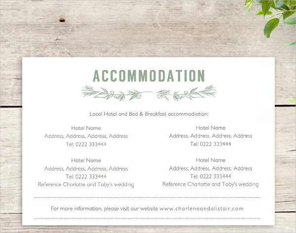 diy wedding accommodation card