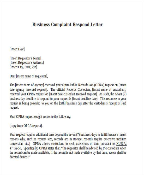 business complaint respond letter template