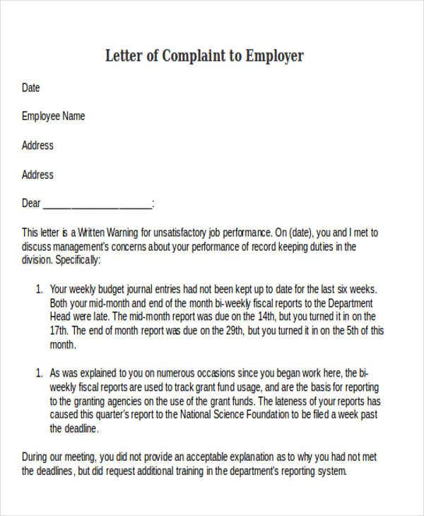 letter of complaint to employer