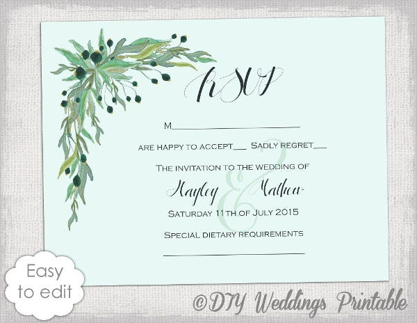 diy wedding acceptance card