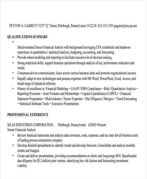 business finance analyst resume