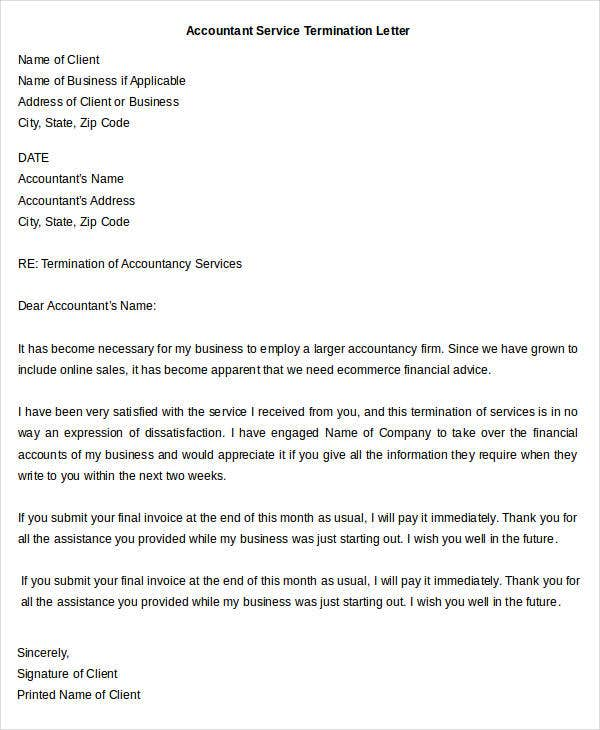 Accounting Service Termination Letter