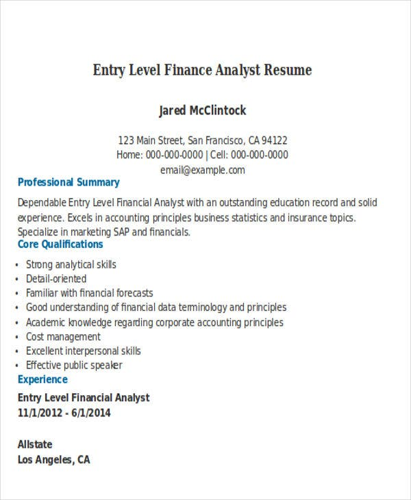 entry level financial analyst resume market analyst resume