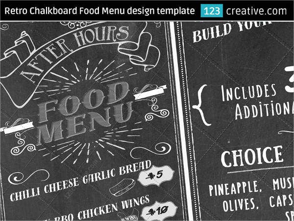 free chalkboard menu in psd