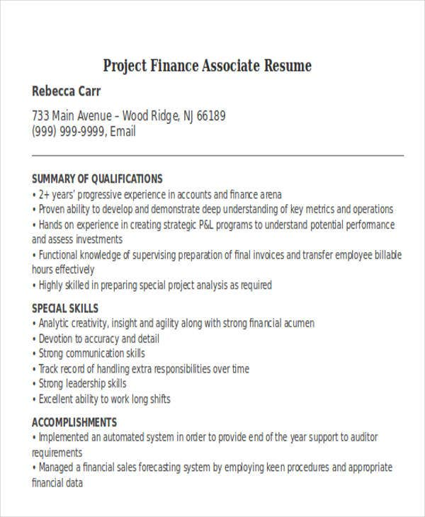20 Professional Finance Resume