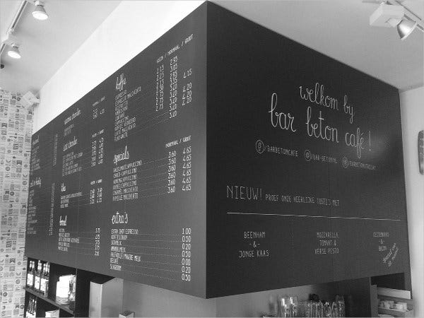how to write cafe chalkboard