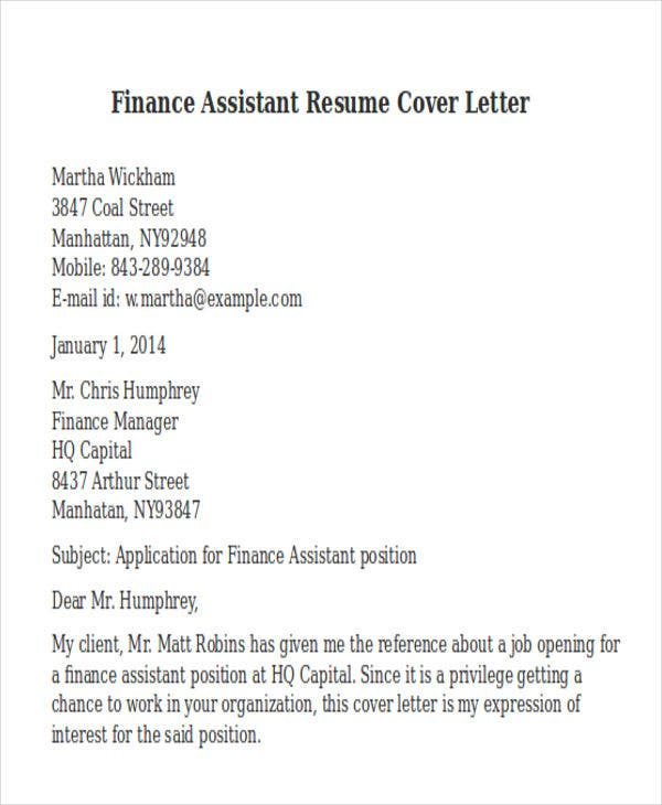 finance assistant resume cover letter