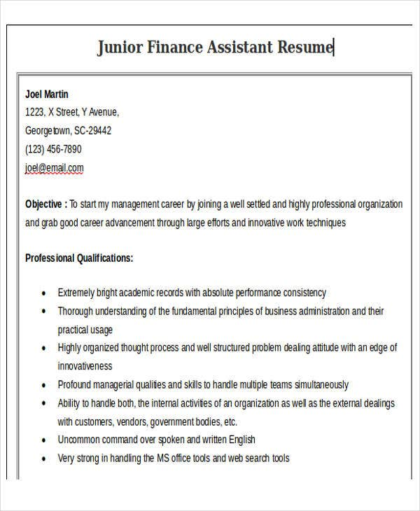 junior finance assistant resume