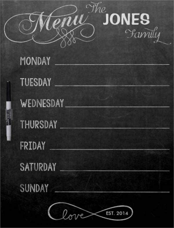 chalkboard menu template