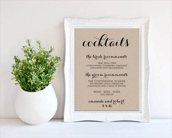 41 wedding menu sample designs templates psd ai for Wedding drink menu template free