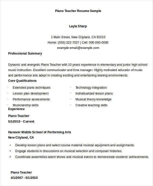Superb Music Teacher Resume Templates. Piano Teacher Intended Piano Teacher Resume