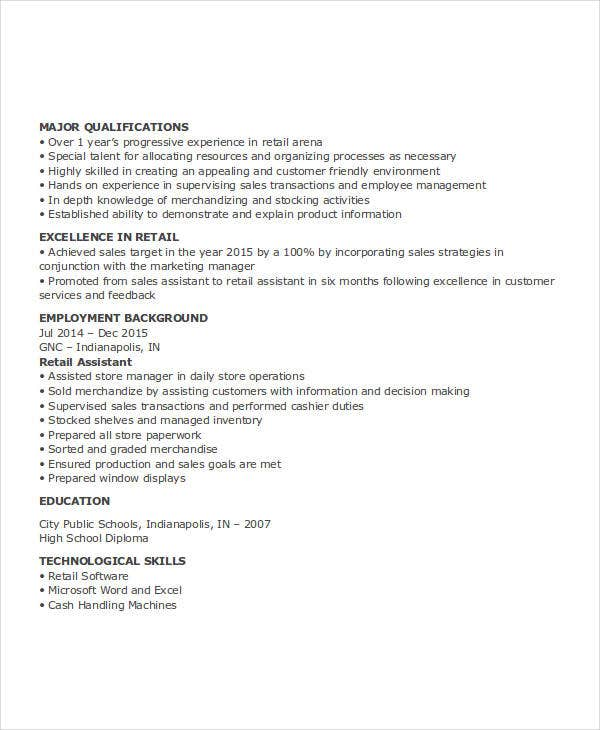 retail assistant work resume