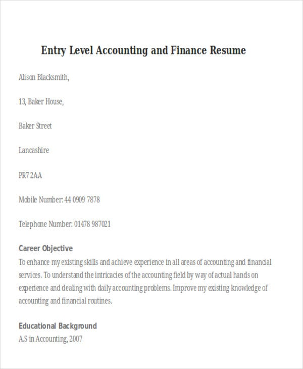 entry level accounting and finance resume