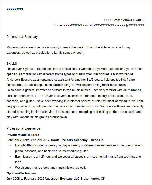 Private Music Teacher Resume  Music Teacher Resume
