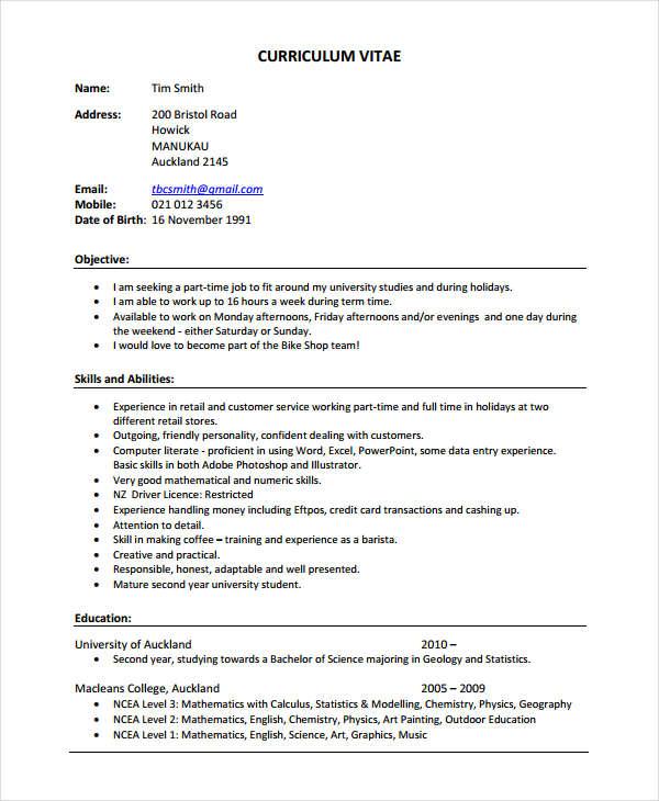 retail work resume in pdf
