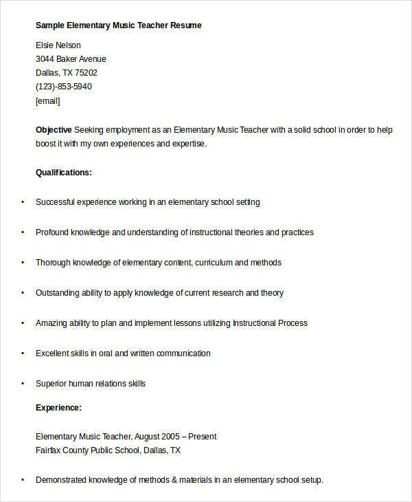 Sample Elementary Music Teacher Resume