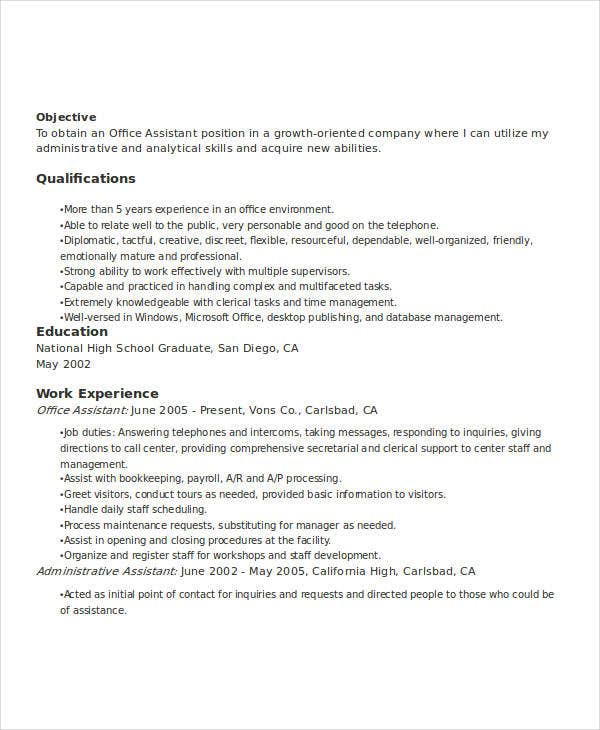 office assistant work resume