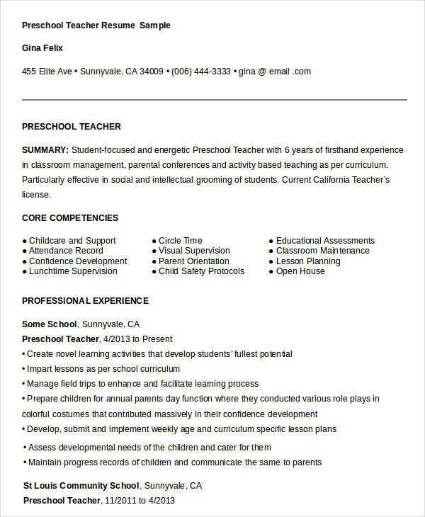 Teacher Resume Sample Page 1. Preschool Teacher Resume Sample
