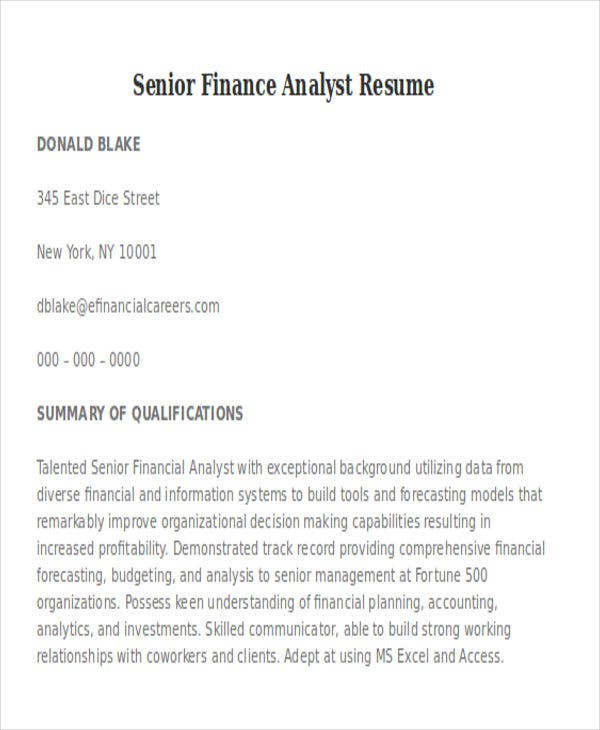 senior finance analyst resume