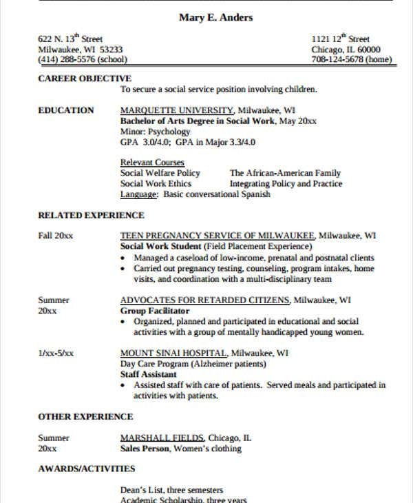 Sample Social Work Resume Summary Sample Hospital Social Work