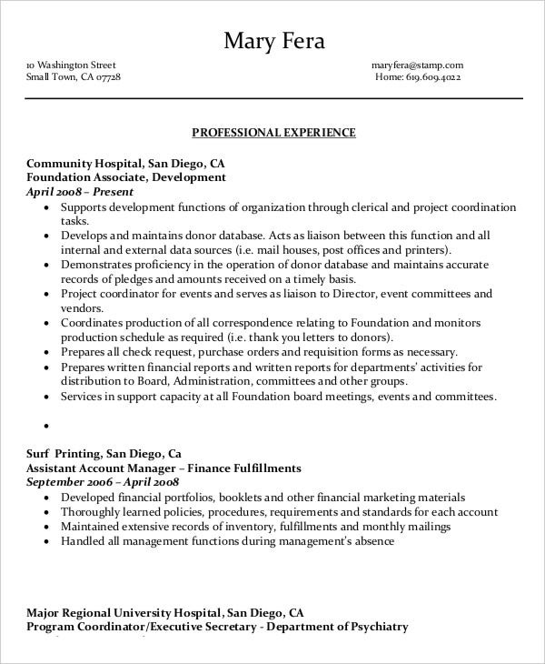 administrative assistant work resume
