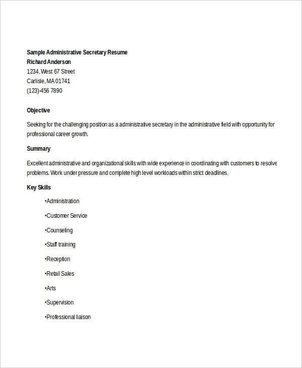 administrative secretary work resume