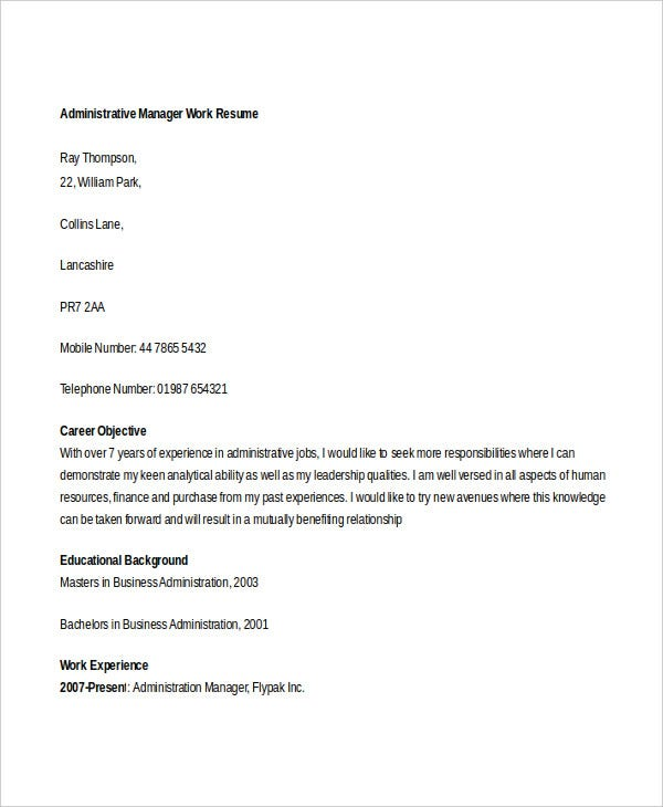 administrative manager work resume