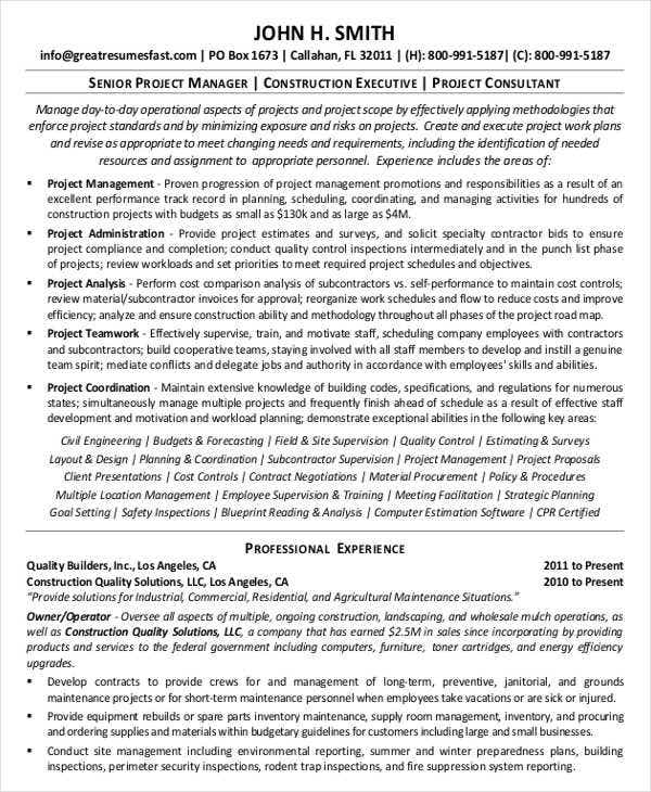 construction manager work resume