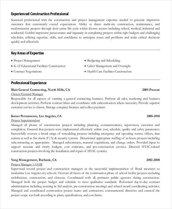 Professional Construction Work  Work Resume